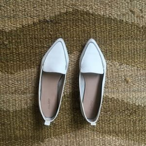 Aldo White Pointed-Toe Loafers